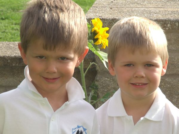 Reuben and Joshua on their first day of primary school