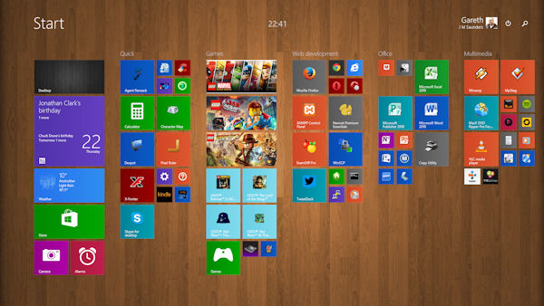 Start screen under Windows 8.1 (now with more tile sizes)