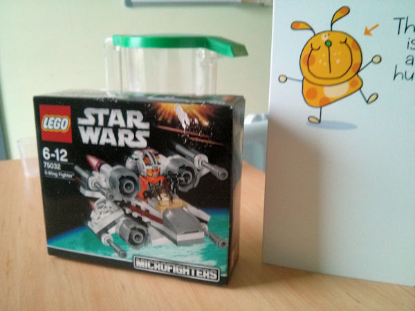 LEGO Star Wars X-Wing micro fighter and card.