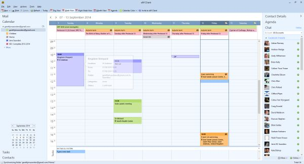 Calendar view in eM Client, showing different colours for shared calendars