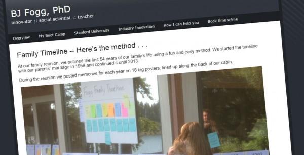 Family timeline method on BJ Fogg's website