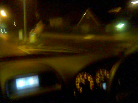 Driving through Edinburgh at night