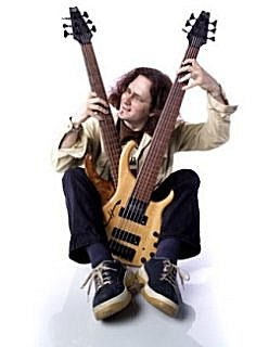 Steve Lawson with two bass guitars