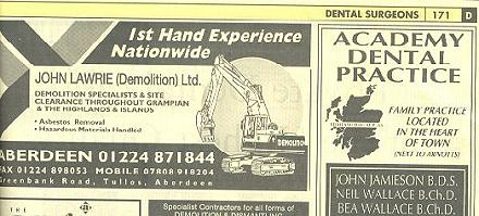 Advert from the Yellow Pages