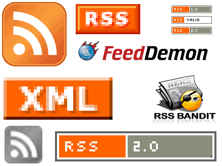 Montage of RSS feed icons and logos