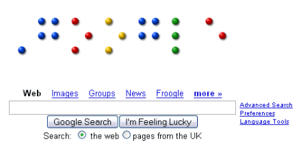 A picture of the Braille letters spelling out Google.