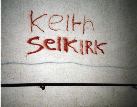 The words Keith and Selkirk spray-painted onto a wall