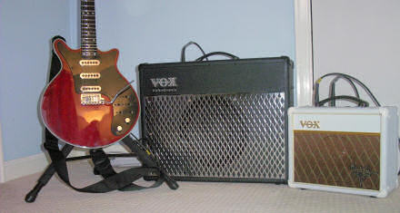 Vox Valvetronix AD50VT, Vox Brian May Special amp and Burns Brian May guitar