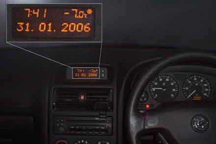 Car dashboard reading minus 7 degrees Celsius