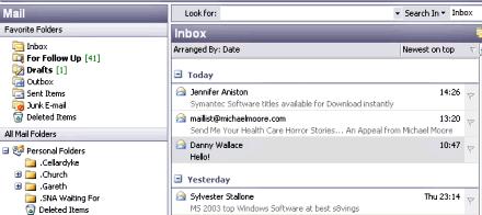 Screenshot of Outlook 2003 Inbox