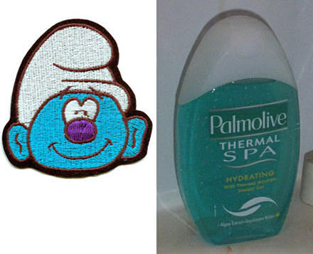 On the left: a smurf; on the right, a bottle of shower gel.