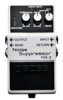 BOSS NS-2 Noise Suppressor pedal for guitar. A grey block with 3 knobs and 5 jack inputs.
