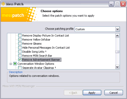 Screenshot of the Mess Patch for Messenger, showing tick box options