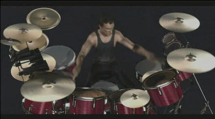 Screenshot of Neil Peart drumming animation