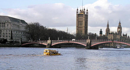 London Duck Tours boat on the River Thames