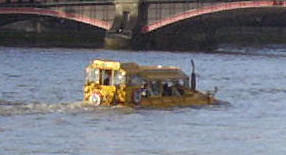 Close up of Duck Tours boat, which looks like it is sinking