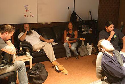 Metallica in the studio, February 2006 with Rick Rubin