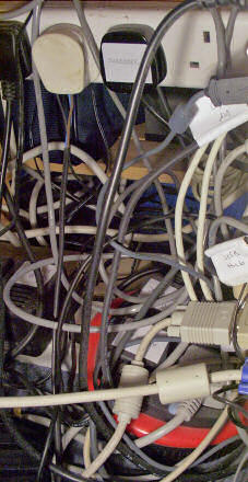 A muddle of PC cables