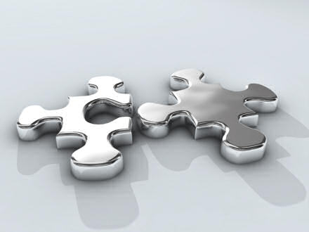 Two silver jigsaw pieces, unconnected