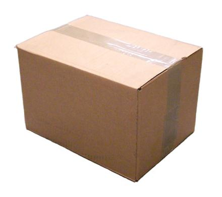 Photograph of a cardboard box, taped closed