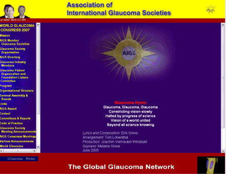 Screenshot of the Glaucoma website
