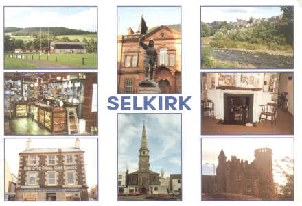 Postcard showing various scenes of Selkirk, from the rugby club to a statue of Fletcher, and the famous giant hamster clinging to the side of a shop