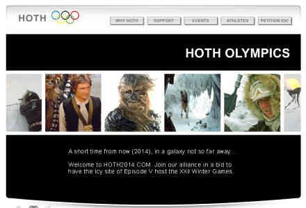 Screenshot of the Hoth Olympics website