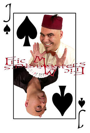 The Jack of Spades playing card, with a photograph of Eric Masters wearing a fez.