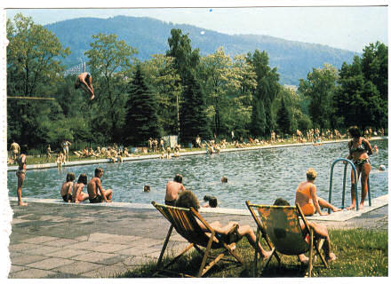 Postcard photograph of people gathered around a swimming pool; a man is diving.