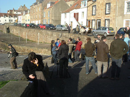 TV reporters on the slipway at Cellardyke.