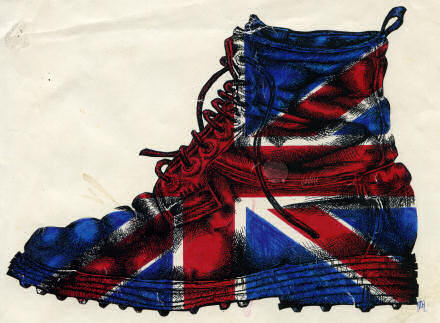Illustration of a soldier's boot, painted with the Union Flag, red, white and blue across it.