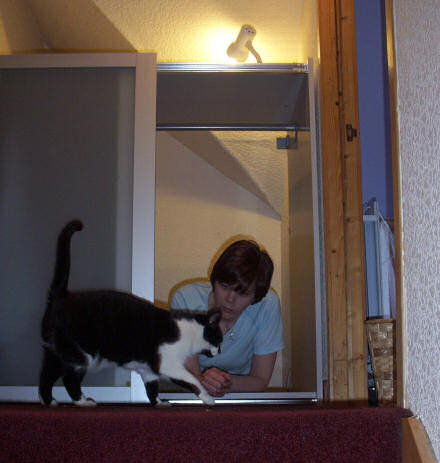 Open doored wardrobe, with Jane inside.  A cat investigates.