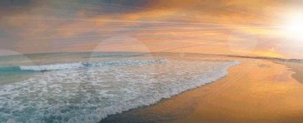 Sunrise over a beach.
