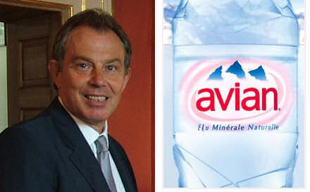 Tony Blair on the left, a bottle of Avian water on the right.