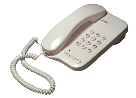 A white British Telecom telephone, on a white background.