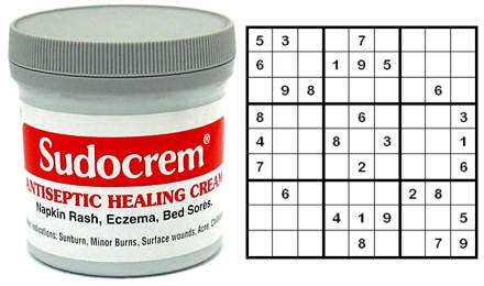 Tub of Sudocrem on the left, a Sudoko puzzle on the right