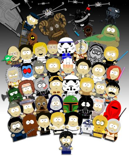 Star Wars cast in South Park style
