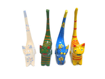 Four painted, wooden cats.