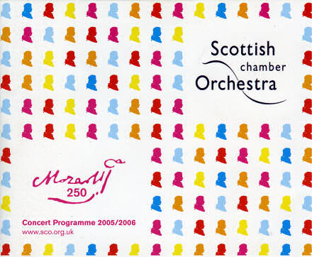 Cover of the Scottish Chamber Orchestra's Mozart 250 concert programme, showing multicoloured images of Mozart's portrait.