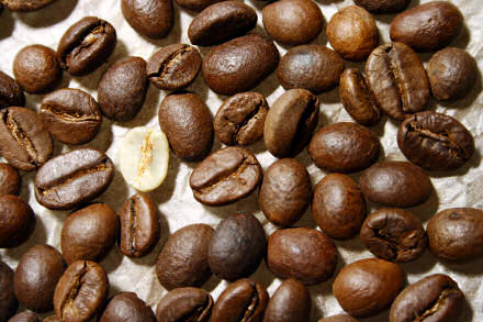 Close-up photograph of coffee beans.
