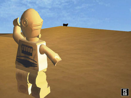 C-3PO waves to a Jawa transport, in the Lego Star Wars II game.