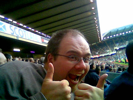 Gareth with two thumbs up, at Murrayfield Stadium.