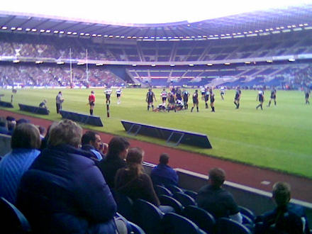 Photograph of Scotland playing rugby against the Barbarians at Murrayfield.