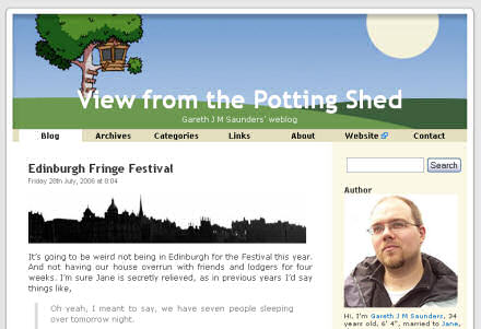 Screenshot of my blog