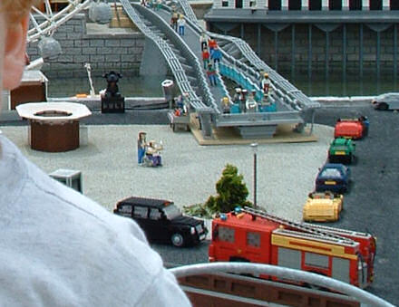 Photo of a scene at Legoland, showing a London taxi and Lou and Andy from Little Britain.
