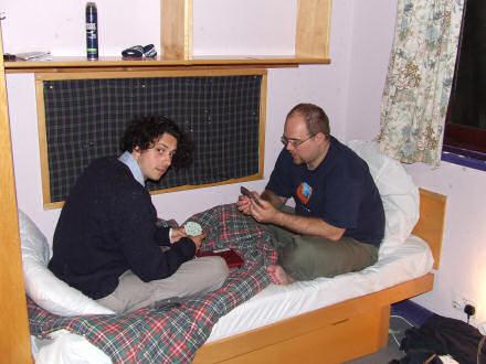 Tom and Gareth playing mahjong cards.