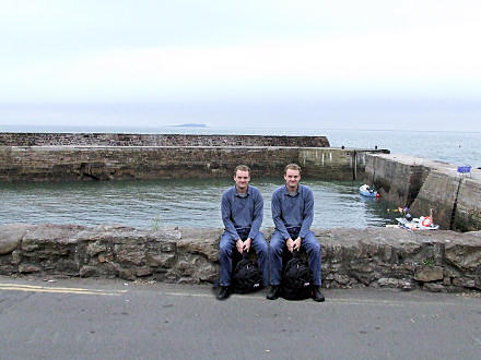 Mike and Mike sitting at Cellardyke harbour.