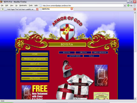 Screenshot of Armor of God website
