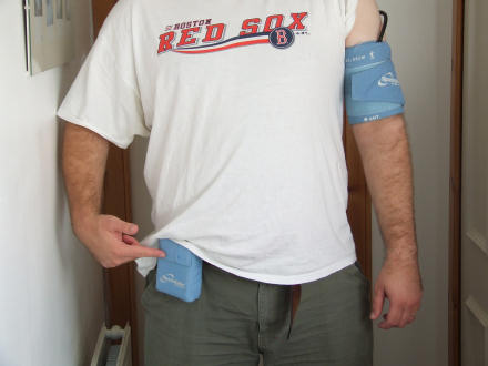 Gareth wearing a 24 hour blood pressure monitor.