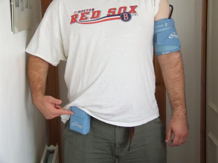 Gareth wearing a 24 hour blood pressure monitor.